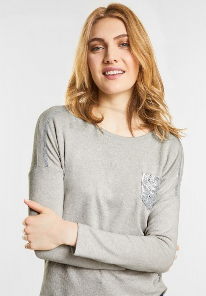 Street One - Pullover mit Pailletten in Shell White Melange