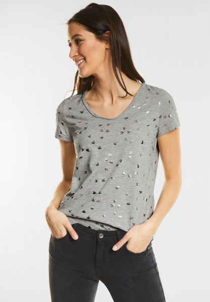 Street One - Vogel Print Shirt in Shiny Grey Melange