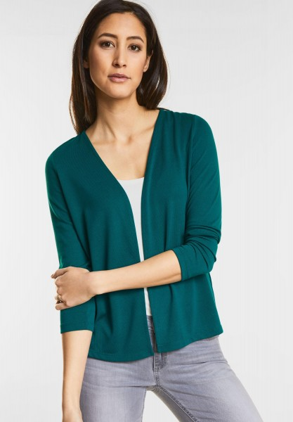 Street One - Open Style Cardigan Nette in Teal Green