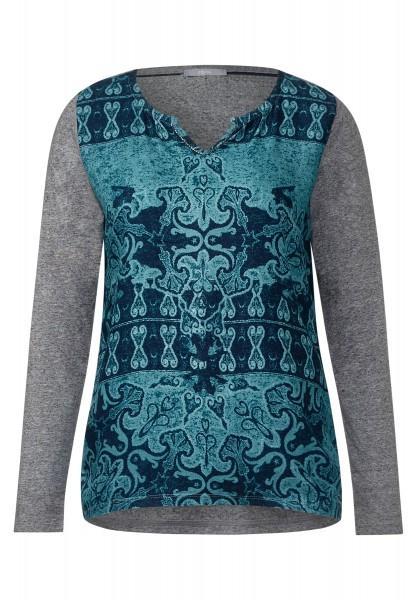 CECIL - Shirt mit Ornamentprint Dusk Blue