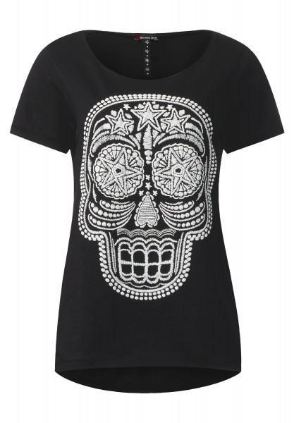 Street One - Shirt mit Totenkopf Print in Black