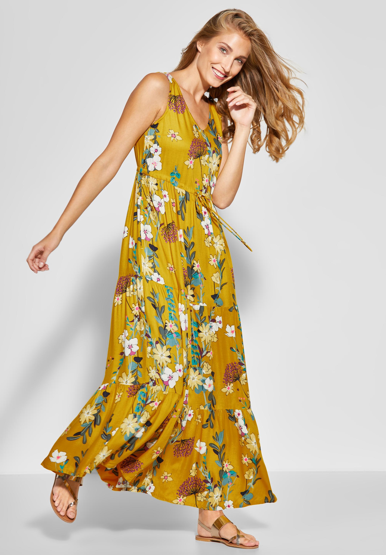 CECIL   Flower Print Maxi Kleid in Ceylon Yellow