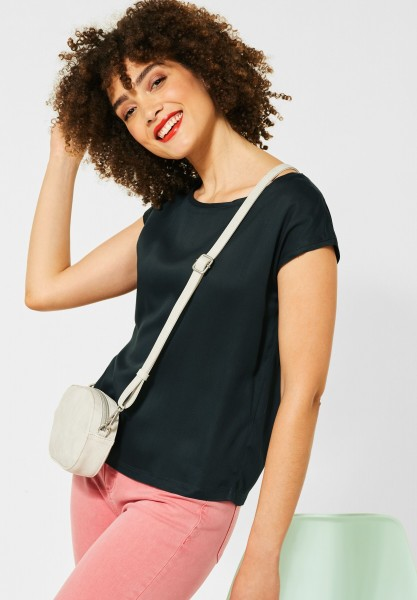 Street One - Bluse in Unifarbe in Comfort Green