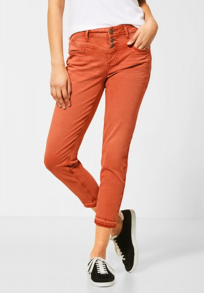 Street One - Colour Denim mit High Waist in Cheeky Red Heavy Washed