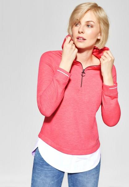 CECIL - Hoodie Shirt in Neo Coralline Red Melange