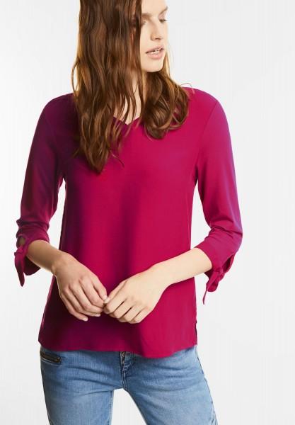Street One - V-Neck Shirt mit Schleifen in Funky Pink