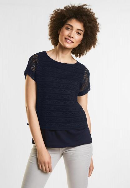 Street One - Lagen Spitzen Shirt in Deep Blue