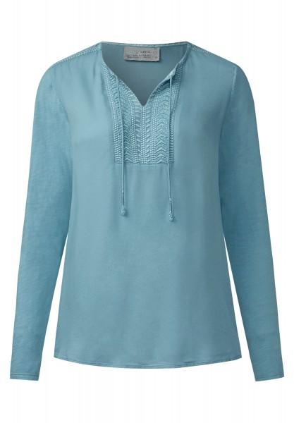 CECIL - Bluse mit Perlenbesatz Glazed Neptune Blue