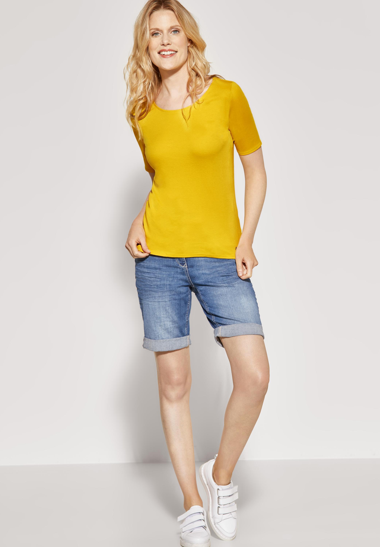 Organic Halbarmshirt Lena in Mango Yellow CECIL