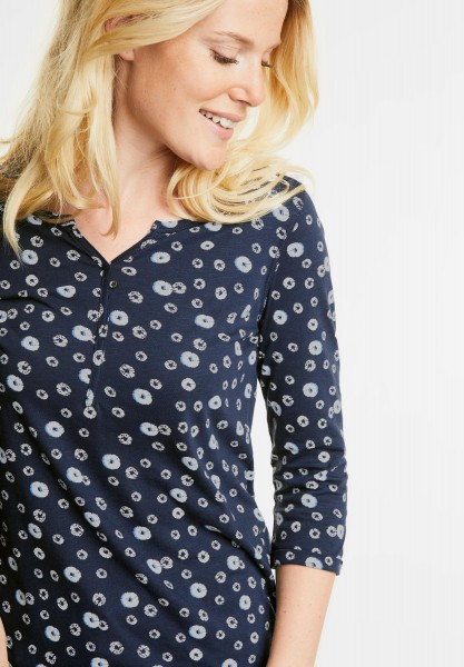 CECIL - 3/4-Arm Printshirt Annika in Deep Blue
