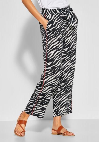 Street One - Wide Leg Hose mit Zebraprint in Black