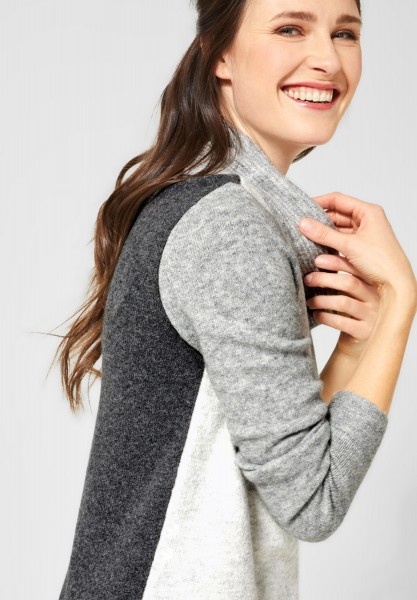 CECIL - Pullover mit Colourblock in Mineral Grey Melange