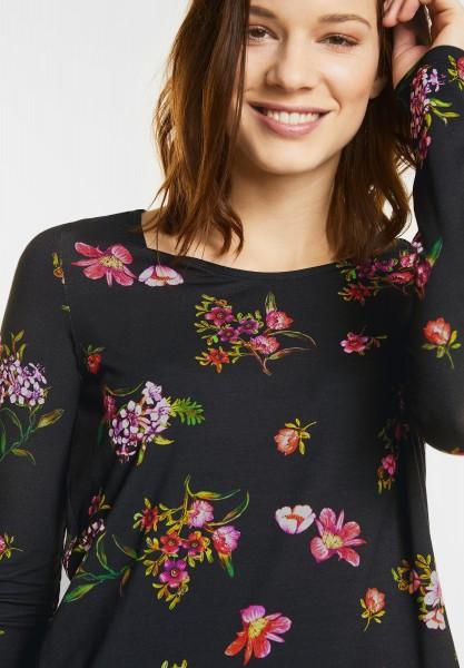 Street One - Strukturmix Blütenshirt in Black
