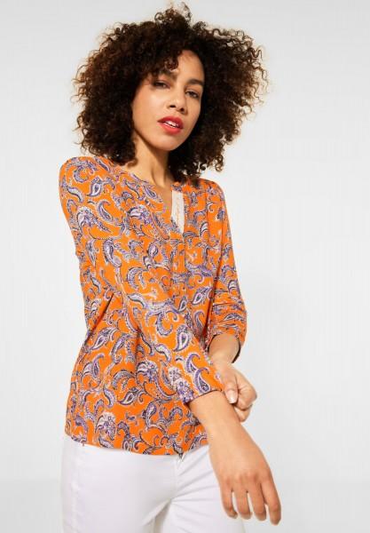Street One - Mat Mix-Shirt mit Paisley in Shiny Tangerine