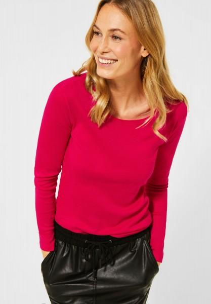 CECIL - Basic Langarmshirt in Hibiscus Red