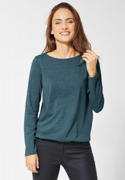 CECIL - Streifenshirt Marlena in Deep Atlantic Green