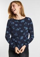 CECIL - Flower-Print Shirt Karla in Deep Blue