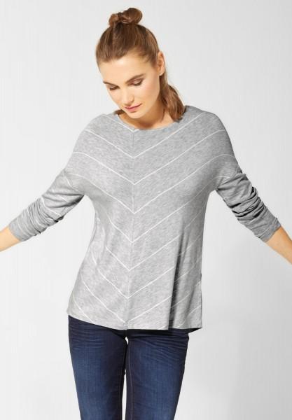 Street One - Streifenshirt Elisha in Club Grey Melange