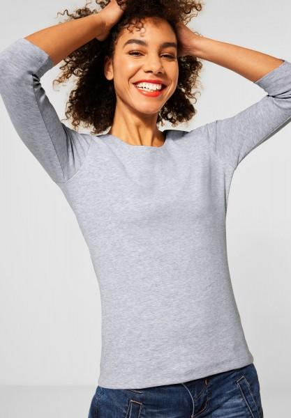 Street One - Shirt mit Melange-Optik in Sky Grey Melange