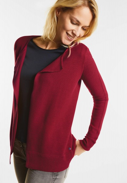 CECIL - Offener Strukturmix Cardigan in Cranberry Red