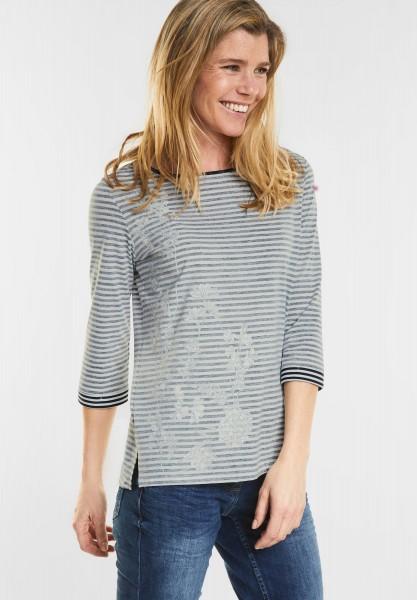 CECIL - Streifen-Shirt mit Print in Deep Blue
