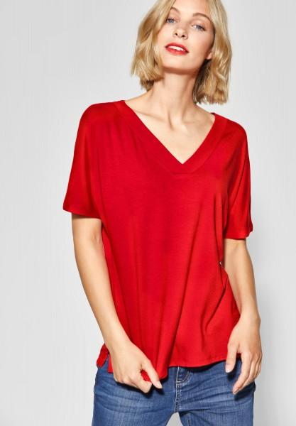 Street One - Shirt mit gewebten V-Neck in Vivid Red