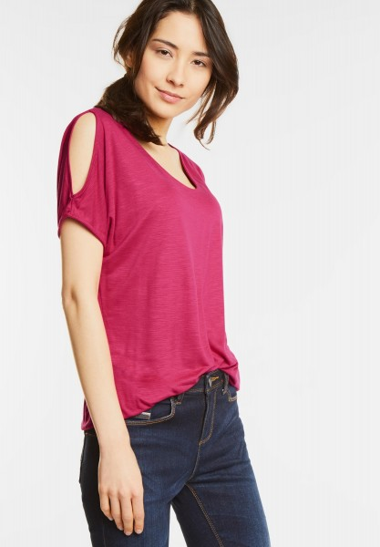Street One - V-Shirt mit Armschlitz Naja in Passion Pink