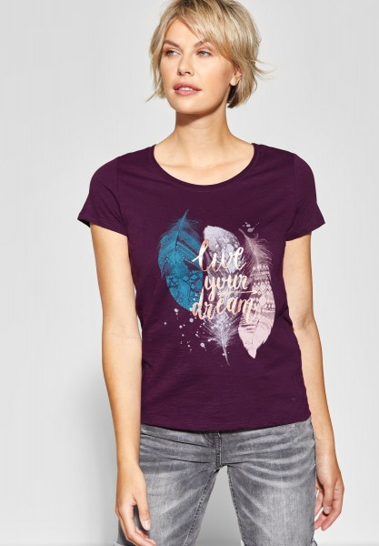 CECIL - Federprint Shirt mit Wording in Deep Berry