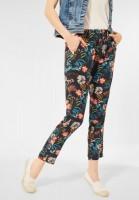 CECIL - Loose Fit Hose mit Blumen in Carbon Grey