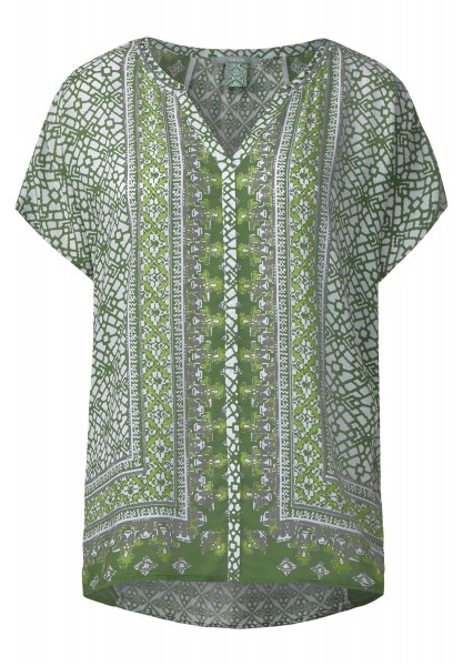 CECIL - Ornamentprint Ponchobluse in Matcha Tea Green