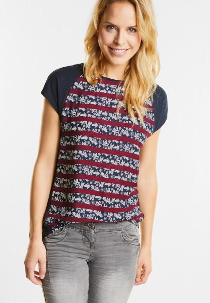 CECIL - Streifen und Blumen Shirt in Velvet Red