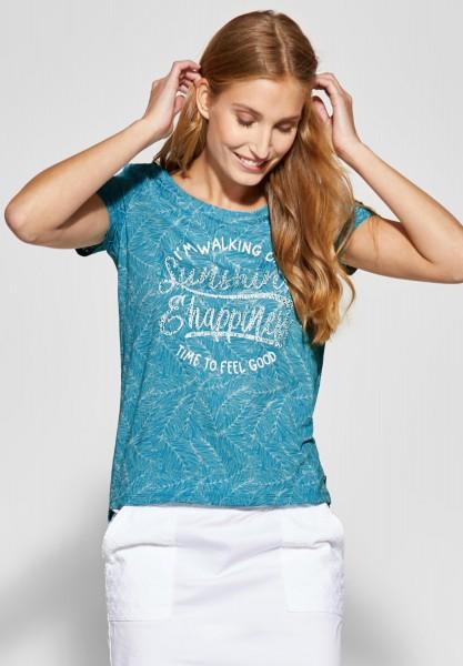 CECIL - Print Shirt mit Wording in Cool Lagoon Blue