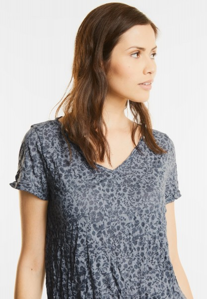 Street One - Ausbrenner V-Neck Shirt in Baltic Grey