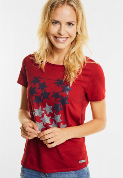 CECIL - Basic Shirt mit Sternenprint in Flame Red