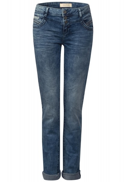 Street One - Casual Fit Denim Jane in Mid Blue Random Bleached Wash 32er Länge