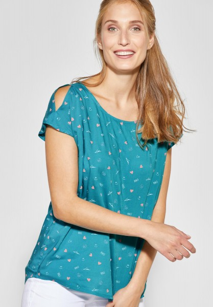 CECIL - Bluse mit Symbolprint in Cool Lagoon Blue