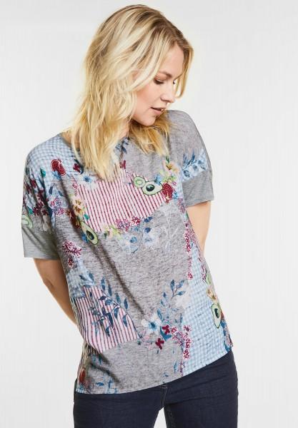 CECIL - Patchwork Früchteprint Shirt in Silver Melange