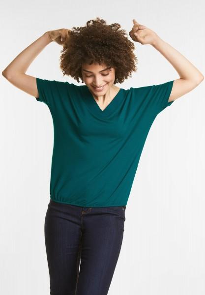 Street One - Schlichtes V-Neck Shirt in Teal Green