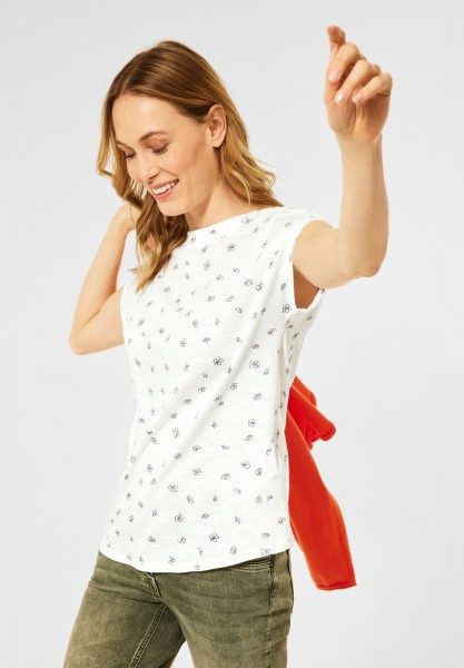CECIL - T-Shirt mit Minimal Print in Pure Off White