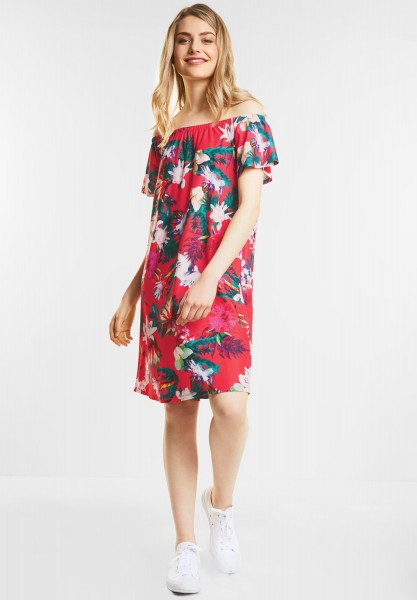 Street One - Off shoulder Kleid in Hibiscus Red