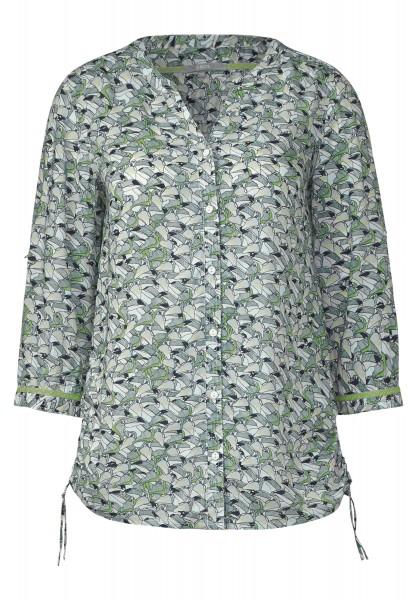 CECIL - Tucanprint Bluse mit Raffung in Palm Green