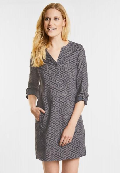 CECIL - Samtiges Minimalprint Kleid in Dark Silver