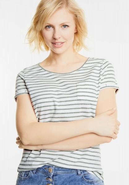 CECIL - Shirt mit Streifenprint Lia in Palm Green Melange