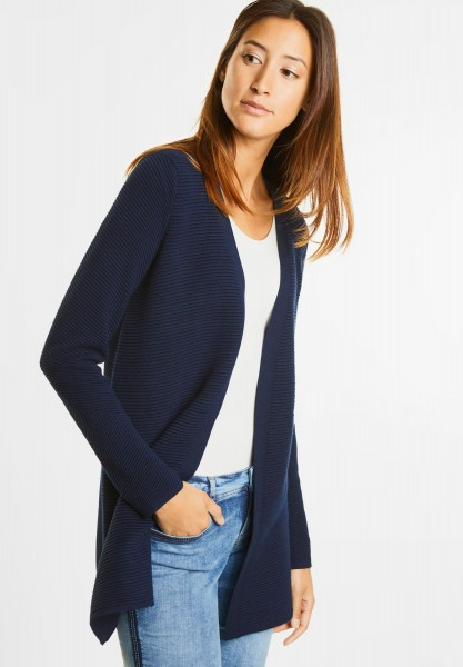Street One - Offene Rippmuster Longjacke in Night Blue
