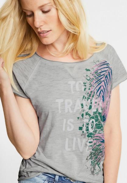 CECIL - Shirt mit Neon Palmwedel in Greige