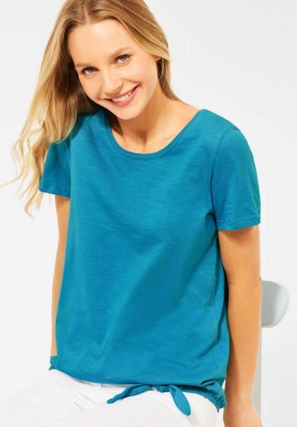 CECIL - T-Shirt mit Knoten Detail in Cool Lagoon Blue
