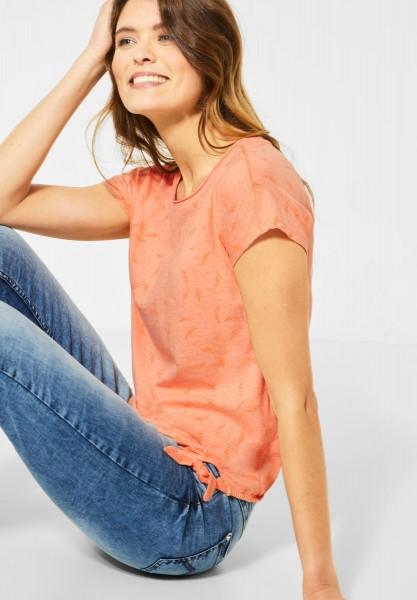 CECIL - T-Shirt mit Blättermuster in Cantaloupe Orange