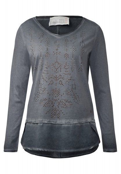 CECIL - Langarmshirt im Materialmix Dark Silver