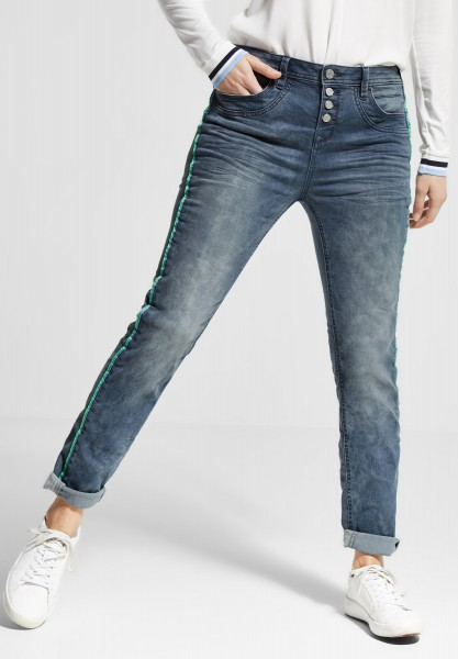 Street One - Loose Fit Denim Bonny in Blue Grey Random Bleach
