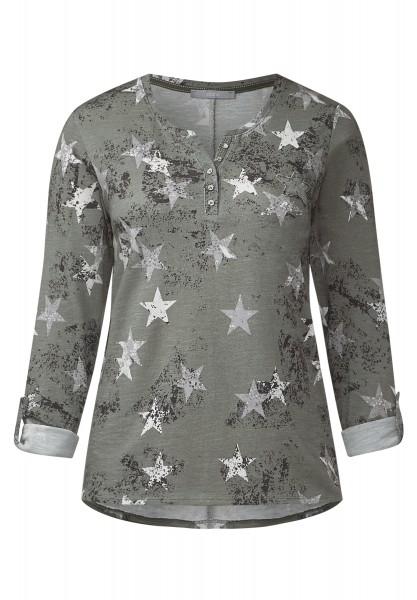 CECIL - Shirt mit Sternenmotiv Deep Olive